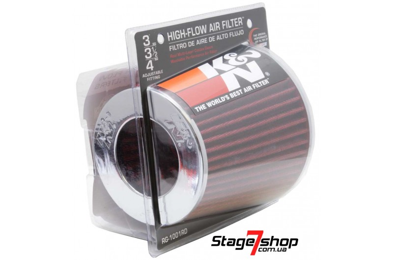 """Универсальный фильтр K&N 3"""", 3.5"""", 4"""" (76-89-102 mm) RG-1001RD"""